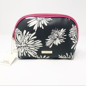 New Trina Turk Black and White Floral Cosmetic Bag